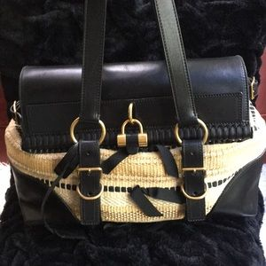 YSL Black Leather & Beige Hang Bag 🖤